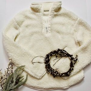 Wallflower Half-zip Sherpa Pullover Ivory